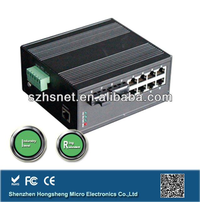 DIN-Rail Mounting Redundant Ring 8 port Media Converter