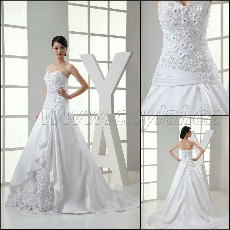 Jj3015 Newest Ball Gown Fold Silk Satin Lace Bridal Wedding Dress ...