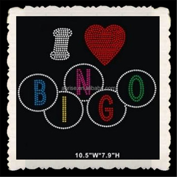Aprise - I love bingo hotfix rhinestone heat transfer iron on