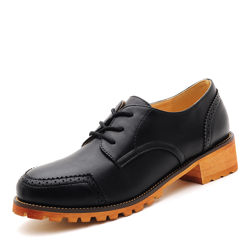 83c8a3e98a6 Get Quotations · Women s Oxfords Flats Casual Business Shoes For Women  Genuine Leather Comfortable Ladies Lace Up Brand Black