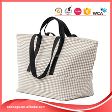 natural grid canvas women weekend casual tote bag duffle bag