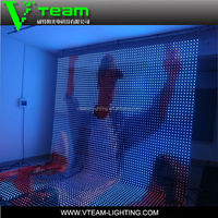 transparent programmable led dot rgb matrix soft thin flexible led video curtain display for facade/ceiling/xxx image