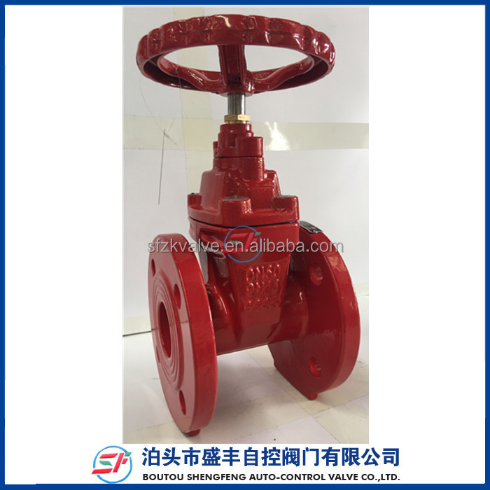 DIN3352 F4 PN16 Cast iron DN50 Fire protection red gate valve