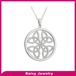 New Arrival Sterling Silver CZ Celtic Knot Pendant Round necklace jewelry