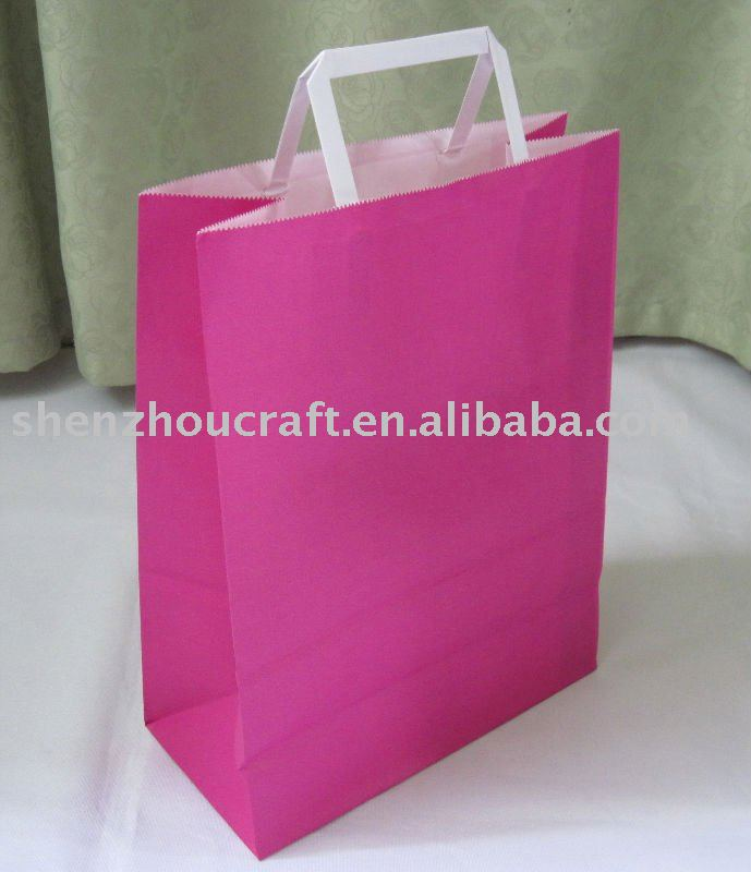 white kraft paper flat handle shopping bag