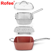 Prima cookware As seen on tv 20cm copper ceramic coating square fry pan with glass lid dinner cookware set