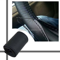 DIY Leather Car Auto Steering Wheel Cover With Needles and Thread Black hot sale