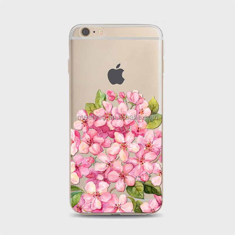 Sakura with leaves printing TPU cheap phone cases Soft customize tpu cases For iPhone 4 4S 5C