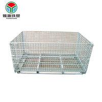 Metal logistics wiremesh container cage pallet strong structure storage cages trolley to transport goods