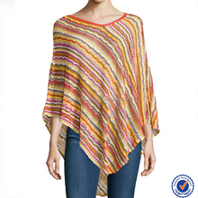 High quality cape print striped asymmetric cashmere shawl knitted cape poncho