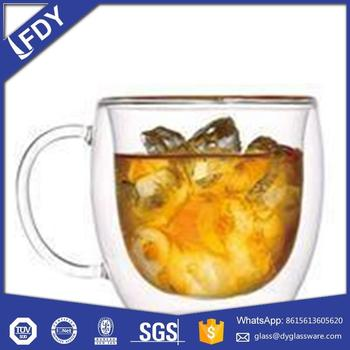 Handmade drinking double wall beer glasses,double wall glass cup in guangdong