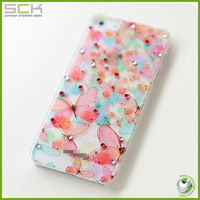 "For iphone 5""case cover crystal diamond beautiful butterfly case for iphone 4"
