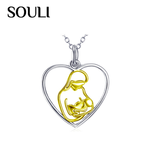 New Fashion Accessories Jewelry S925 Sterling Silver Mother and Child Necklace