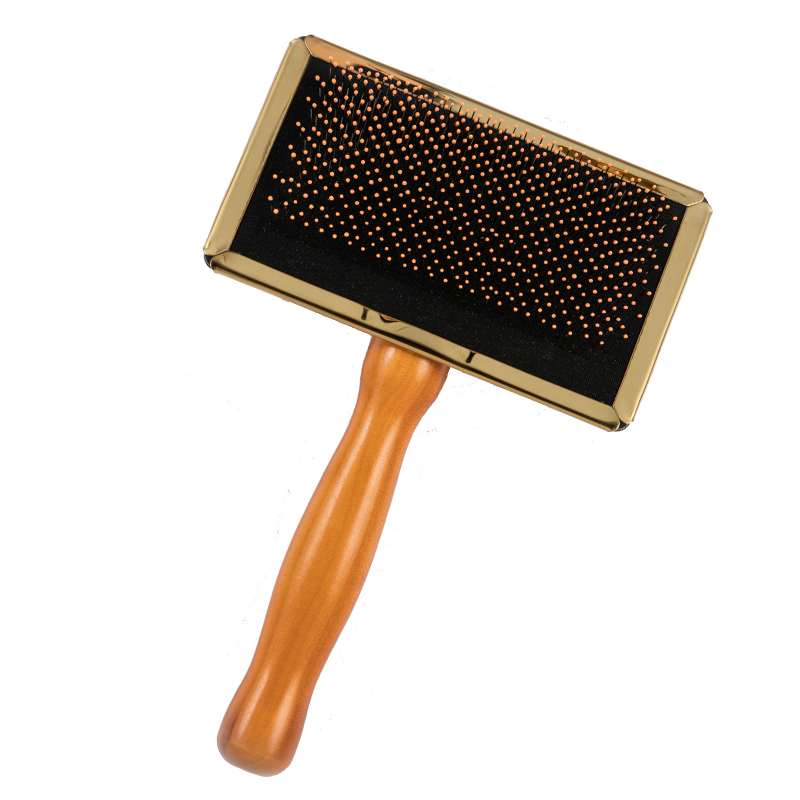 Long handle dog hair wooded slicker deshedding brush