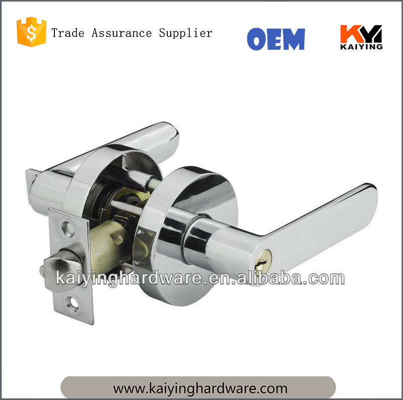 Fancy Heavy duty tubular lever door handle lock polished chrome entry privacy bathroom bedroom storeroom lever lock KY8805ET-CP