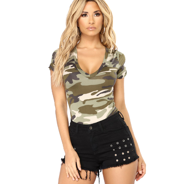 camo t-shirts army digital camouflage hunting short sleeve fashion tops women t shirt