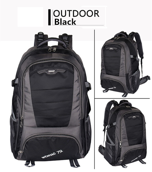 Promotional 75L BLACK Trave mountain backpacks for travelers