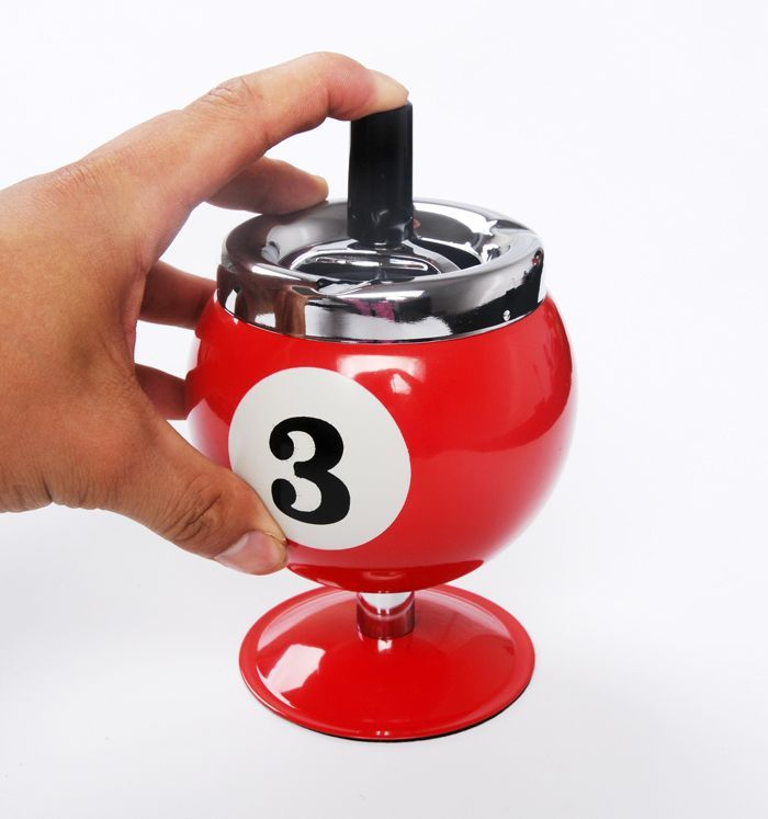Billiards Lucky Numbers Smokeless Metal Smoking Ashtray for Bar KTV or Cafe use