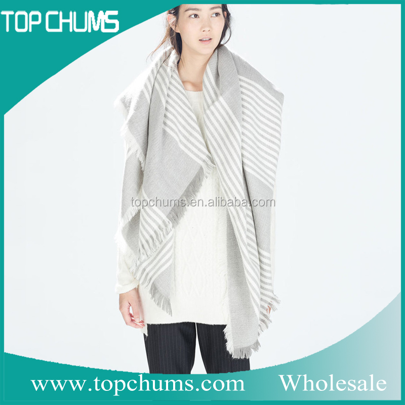 Hot sale classic stripe style Turkey autumn winter acrylic made knit pashmina scarf shawl