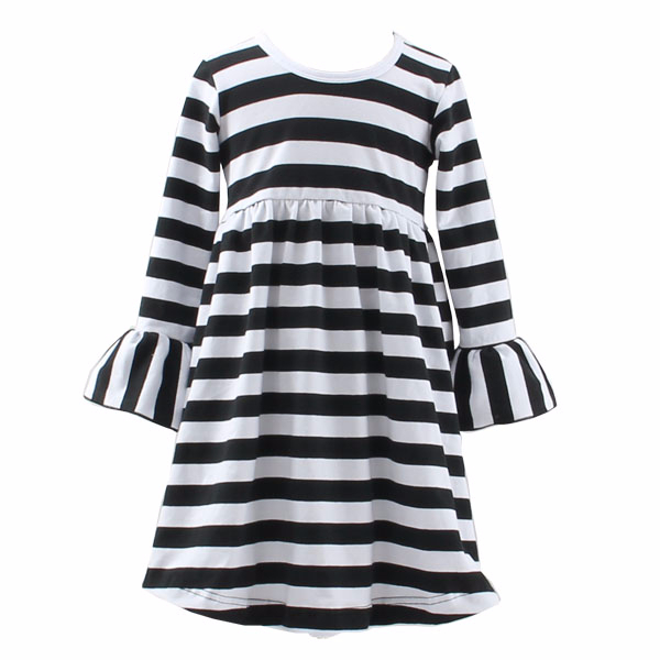 fall 2017 new model black and white striped 3/4 sleeve children smocked girl child dress for 2 year old