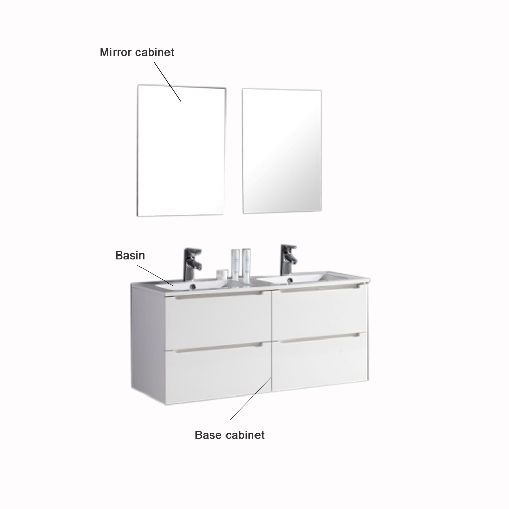 Mdf Classic Stainless Steel Vanity Double Basin Top Bathroom Cabinet ...