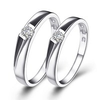 Designer minimalist grace silver couple finger ring with exquisite plated