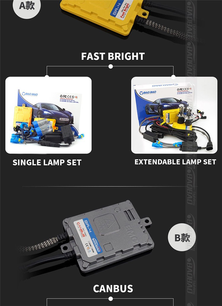 New arrival 12V 55W Canbus hid xenon conversion kit with quick start 55w hid xenon bulb and steady hid ballast. h7 kit h4 kit