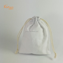 wholesale small plain white cosmetic packing pouch canvas cotton drawstring bag