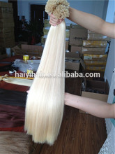 Hot Selling Double Drawn Last 12 Months Thick Bottom Snow White Color Hair Extensions
