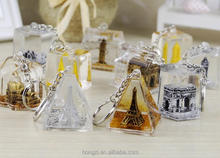 World famous building bags hang oil leakage cartoon key chain key ring creative crystal gifts