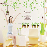 AY9035 New Popular Green Trees Bird Cage Pot Wall Sticker Wall Mural Home Decor Room Kids
