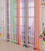colorful curtain and window screen