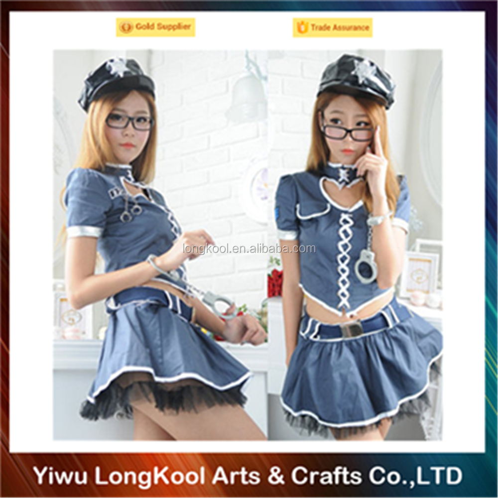Cheap low MOQ party playtime cosplay costume girls sexy police costume for sale