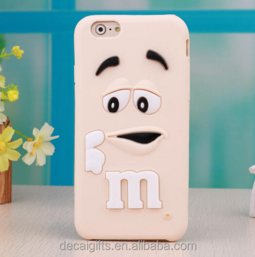 Custom 3d silicone mobile phone case, m&m chocolate shape phone case