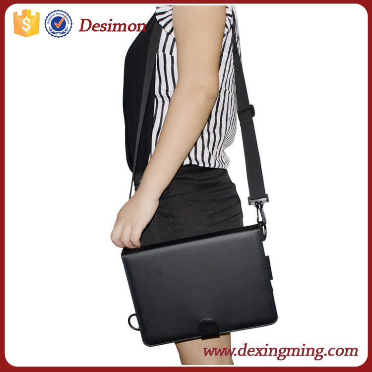 Black leather case for <strong>ipad</strong> carrying case with shoulder strap, for <strong>ipad</strong> pro back cover