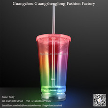 Double walled 16oz plastic Multicolor LED Light Up Cup Tumbler with straw and lid