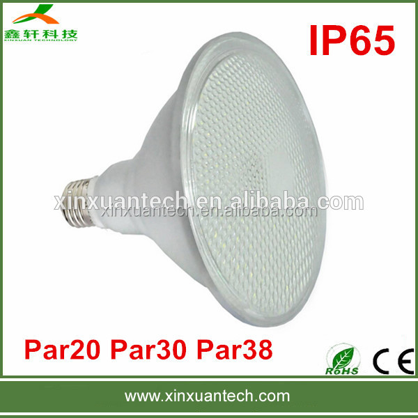 Ip65 waterproof aluminum shade glass lens 15w high lumen led par38 light