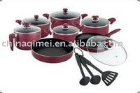 16pcs aluminium non stick cookware set with 6pcs nylon tools