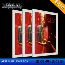 Edgelight AF19 clip clap , with corners , safe single side light box for indoor use advertising LED board