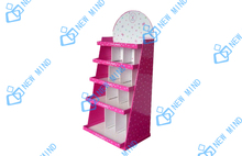 customize pink cardboard display stand in supermarket for products promotion