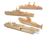 Puzzled Submarine, Destroyer, Battleship and Aircraft Carrier Wooden 3D Puzzle Construction Kit