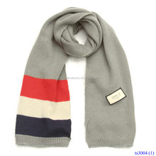 Wholesale Long Knitting Wool Amphibious Stripe Scarf With Flag Labels