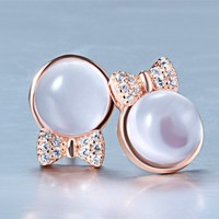 Ribbon Bow shape natural pink crystal rose quartz cute fashion girls trendy earring jewelry stud earring base