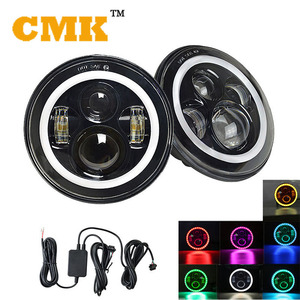 New 7inch Round RGB Led Headlight for Jeep Wrangler with remote control via Bluetooth