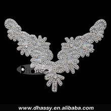 Women Shiny Collar Neck Pearl Rhinestone Beaded Applique Sewing on DIY Craft