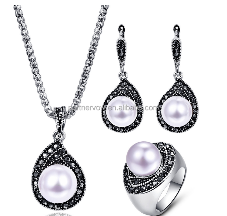 New selling fashion jewelry pendant earrings pearl jewelry set
