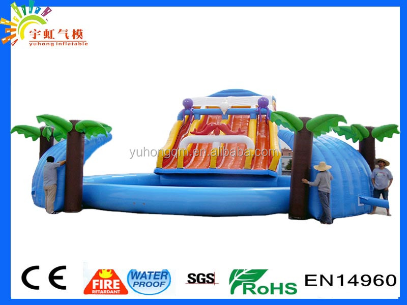 Customize size 2016 cheap water park with inflatable swimming pool palm tree water slide