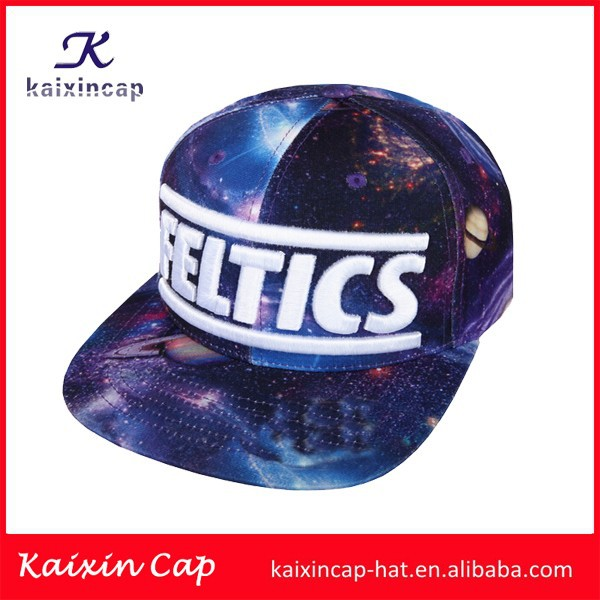 new design high quality all digital printed galaxy 3d embroidery logo snapback cap/hats made in China