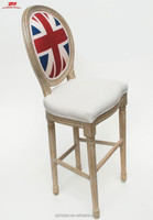 Antique solid high chair Louis high counter wood bar stool No folding wood