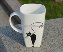square shape ceramic mug with cat factory directly made in china